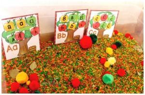 apple tree alphabet sorting activity with sensory bin