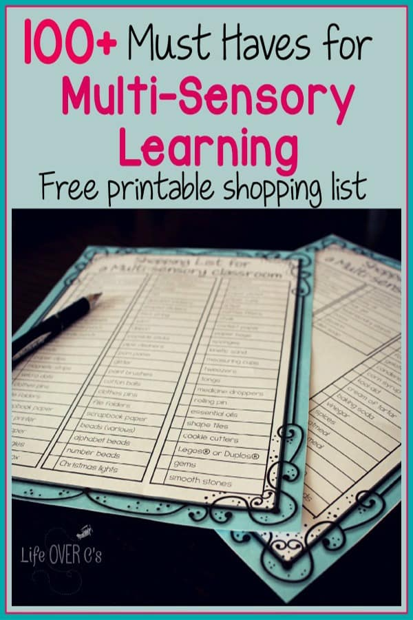 multi-sensory school supply list