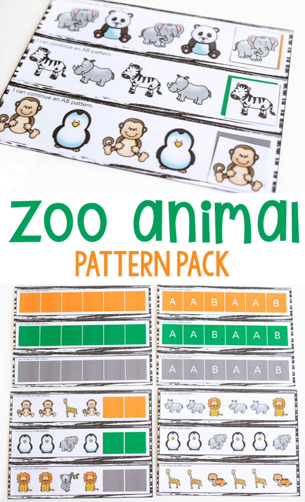 Zoo Animal pattern pack for kindergarten and preschool math centers.