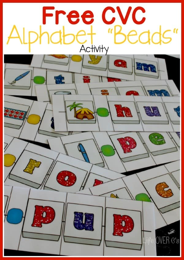 FREE CVC Alphabet Beads activity for kindergarteners