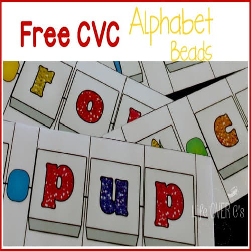 FREE CVC Alphabet Beads word building activity