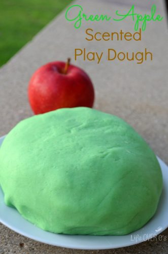 Green apple colored scented play dough