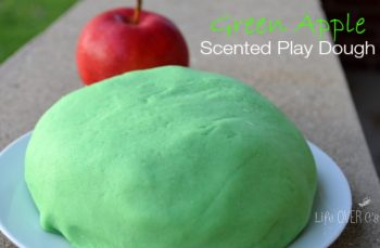 green apple scented play dough ball