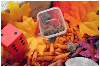 Roll a die, count the correct number of acorns in this fun sensory bin.