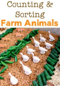 Farm Animals Counting and Sorting Sensory Bin