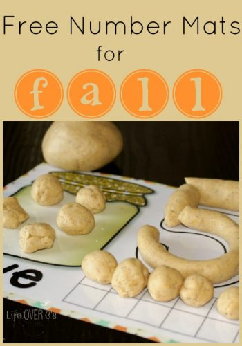 Free fall play dough number mats for exploring numbers 1-10