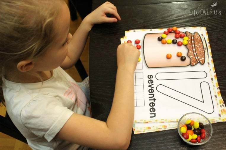 using candy with fall counting mats