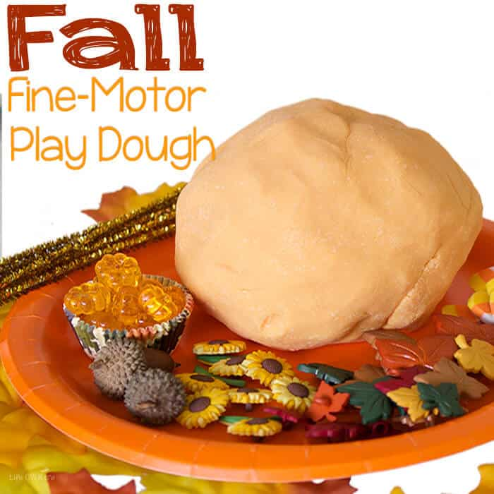 Build fine-motor skills with this fun fall play dough invitation to play.