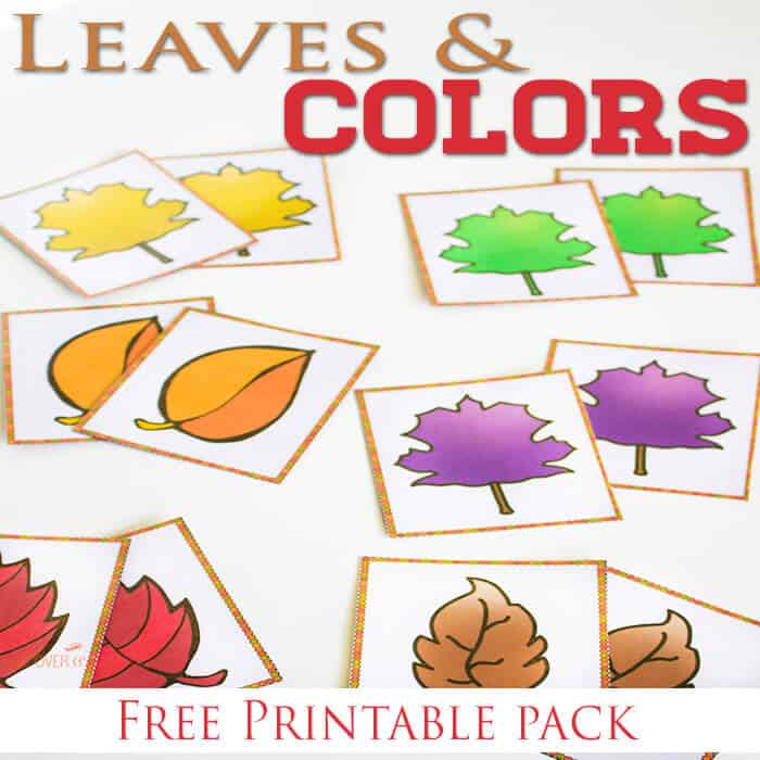 leaves color matching printable