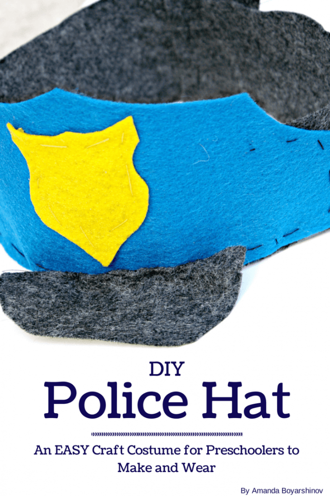 Create a felt police hat for your community helpers theme in preschool!