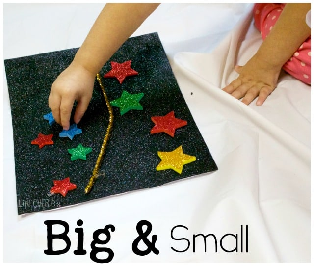 Compare big and small with these fun foam stars and this night sky sensory activity.