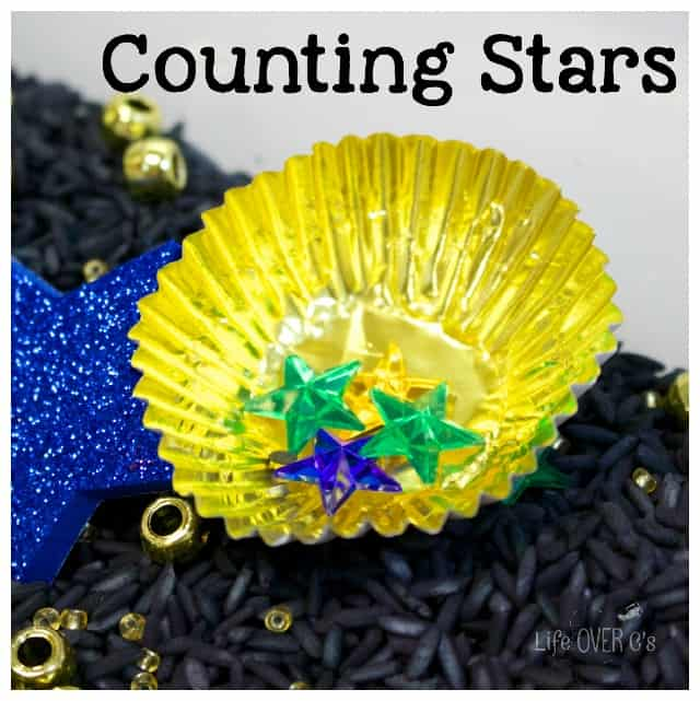 Counting stars is fun with with this sparkly night sky sensory bin.