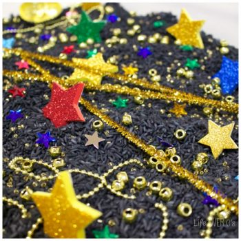 This beautiful night sky sensory bin makes learning about the stars lots of fun for preschoolers!