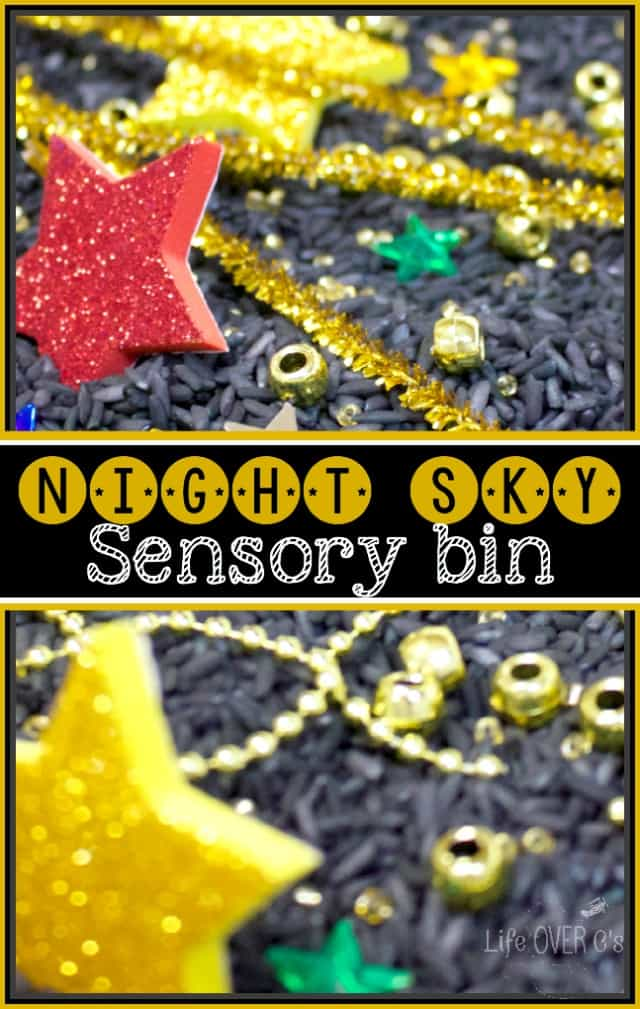 This night sky sensory bin complete with the black base and super sparkly stars was so fun to explore for #PlayfulPreschool