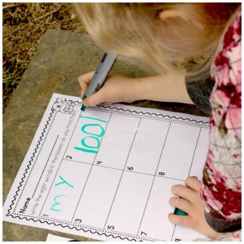 Writing the sight words that she found in the sight word scavenger hunt was a great way to build her reading skills!