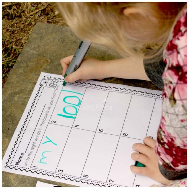 Writing the sight words