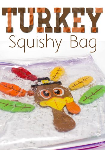 This make a turkey sqishy bag sensory activity for toddlers and preschoolers takes less than five minutes to make, but provides lots of fine-motor practice for your little one!