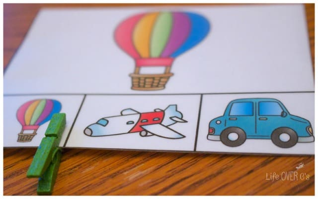 Work on matching and fine-motor skills with these adorable transportation themed clip cards.