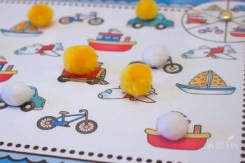 This fun Spin & Cover game is part of a free transportation themed printable pack with 5 great activities for matching.