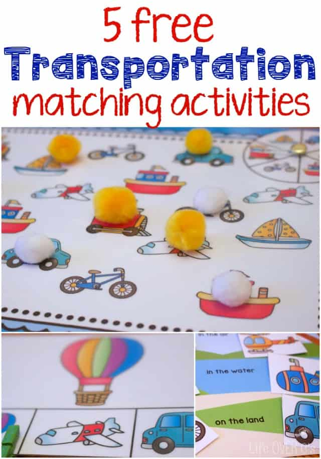Transportation theme free printables for matching for Transportation crafts for preschoolers