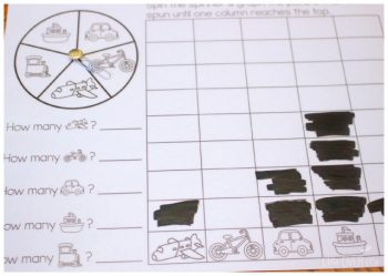 This free spin & graph activity is part of a free transportation themed printable pack!