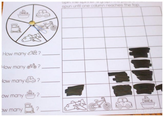 This Free Spin Graph Activity Is Part Of A Transportation Themed Printable Pack: Transportation Theme Kindergarten Worksheets At Alzheimers-prions.com