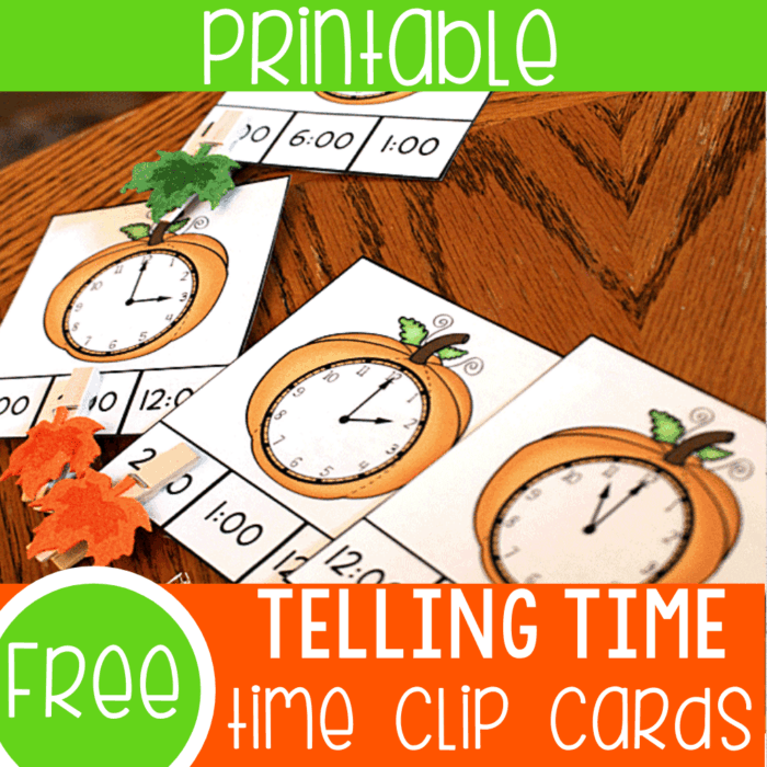 Free printable time activity for kindergarten and 1st grade math centers. Pumpkin time clip cards for telling time to the hour.