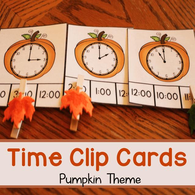 Pumpkin Theme Time Clip Cards