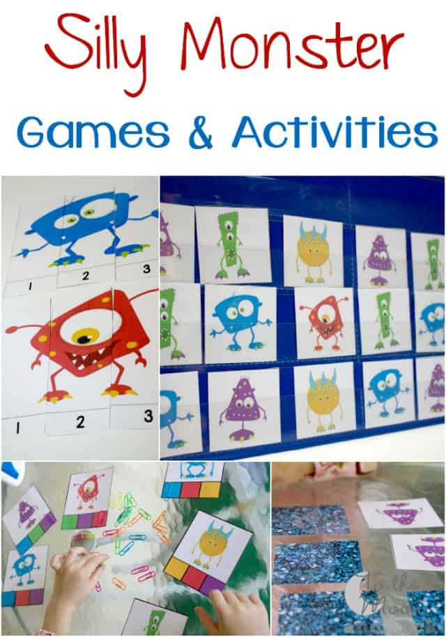A fun pack of monster activities for matching. More than 4 free activities for preschoolers.
