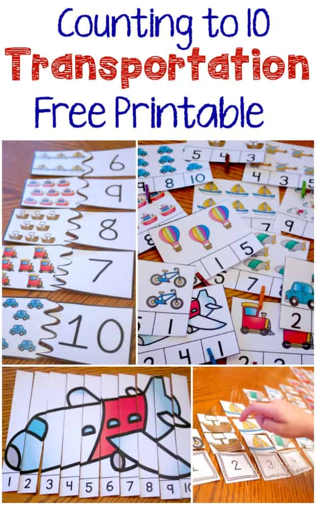 Free Transportation Theme Printable for Counting to 10