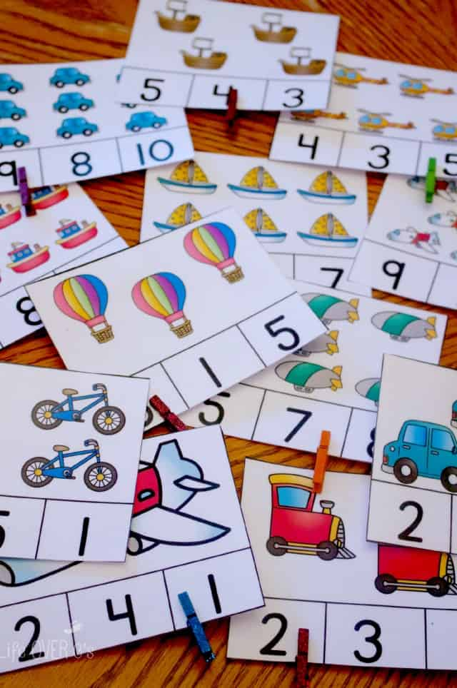Use these clip cards and three other free printable activities make a fantastic addition to a transportation theme and provide excellent opportunities to work on counting to 10.