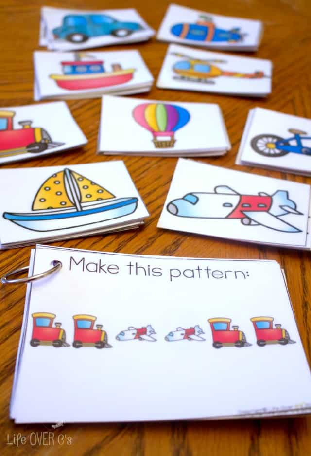 transportation themed printable cards for patterns
