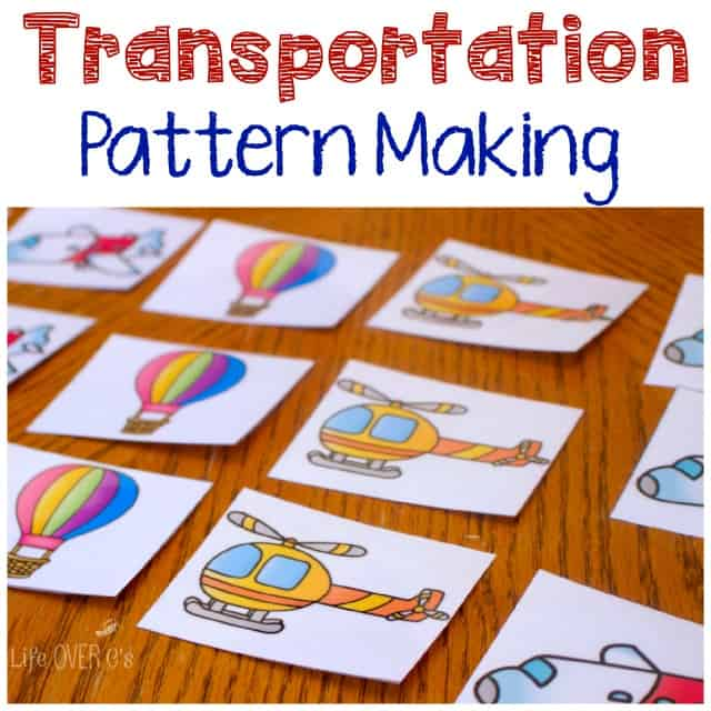 Get this free transportation themed free printable for pattern making and have fun learning with bicycles and hot air balloons!