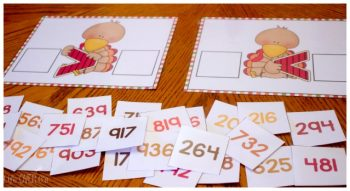 Use these adorable free turkey greater than/less than printables to work with numbers up to the hundreds place.