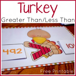 This turkey greater than/less than free printable and work with numbers up to the hundreds place.