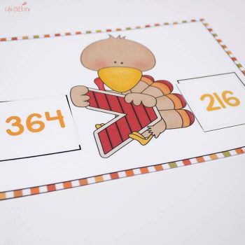 This free turkey inequality printable is a fun way to teach your kids greater than/less than using 3-digit numbers.