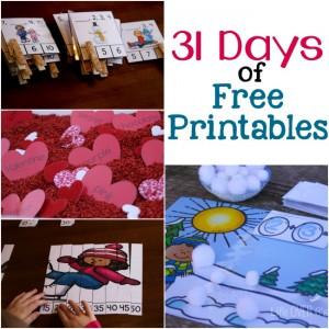 31 days of free printables for pre-k through 1st grade! WOW!!