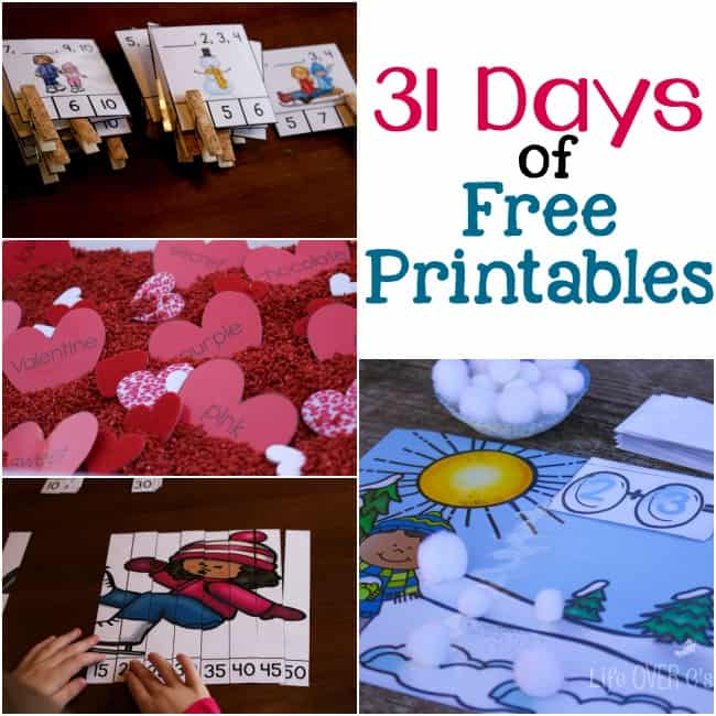 31 days of free printables for pre-k through 1st grade! WOW!!