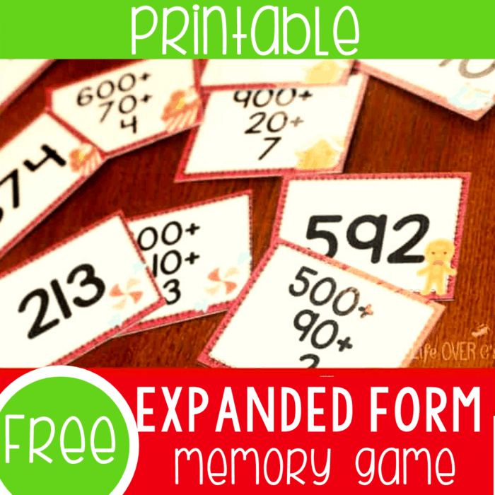 Free printable Christmas expanded form memory game for 2nd grade math centers. Practice expanded form and base ten with this fun Christmas theme memory game!