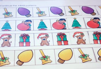 Build patterns with your preschoolers for Christmas. These cute pictures will make learning fun!