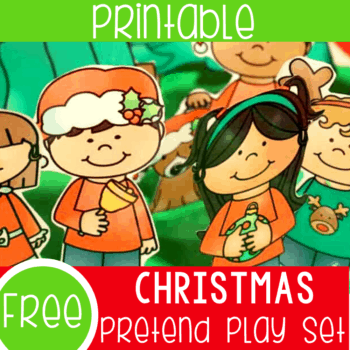 Free printable Christmas pretend play set for play dough and sensory play.