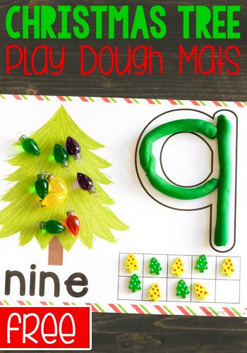 Get kids excited about numbers with these free printable Christmas Tree play dough mats for numbers 1-10. Form the numbers with play dough, count the correct number of Christmas lights and fill in the ten-frame. So many ways to practice counting with your kindergarteners!