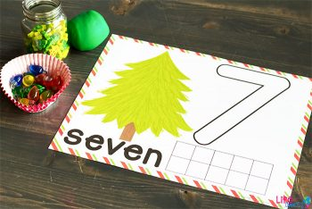 Number seven Christmas tree counting mat.