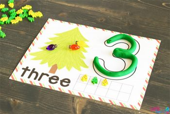 Play dough number mat with a Christmas theme.