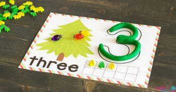 Printable Christmas Tree Play Dough Counting Mats for numbers 1-10