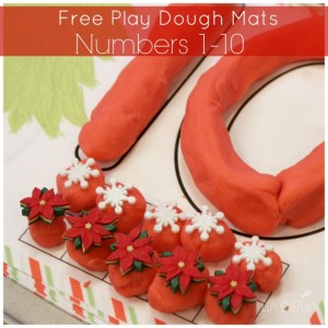 Christmas number mats for play dough square