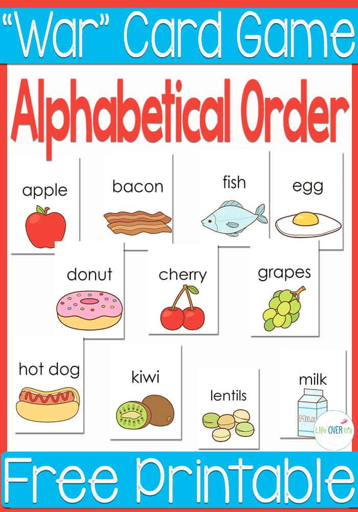 This free printable alphabetical order 'War' card game is great for kindergarteners and first graders who are learning how to read and learning about alphabetical order. The simple words and supporting pictures help kids be able to read the words as they decide which words come first in alphabetical order. So much fun!!!