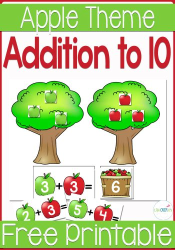 Practice addition to 10 with this free printable apple tree themed addition matching activity for fall