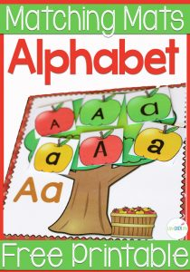 Practice the alphabet with these fun apple tree font sorting cards