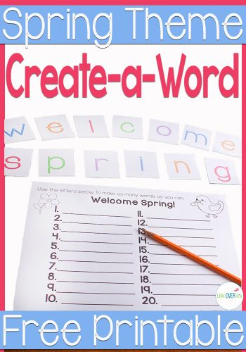"""Use this free spring printable """"Create-a-Word"""" activity to practice word building skills. Perfect for any level of reader."""